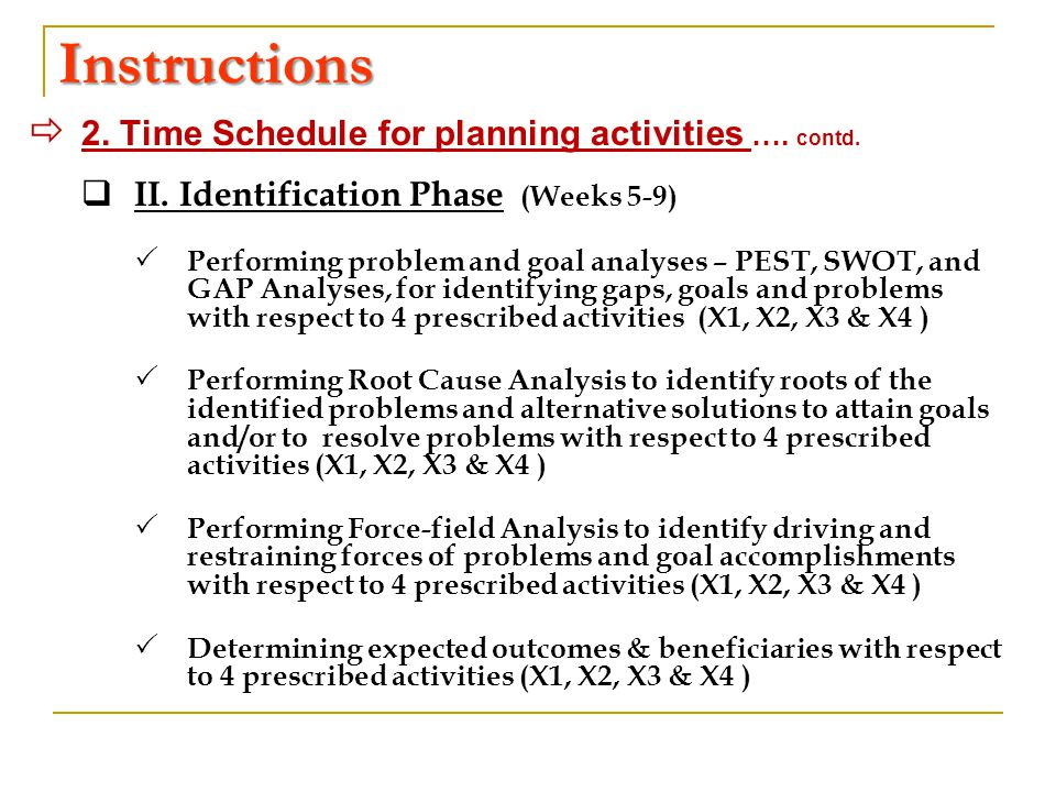 Instructions  2. Time Schedule for planning activities ….