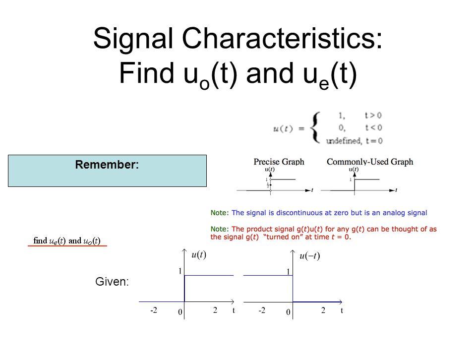 Given: Signal Characteristics: Find u o (t) and u e (t) Remember: