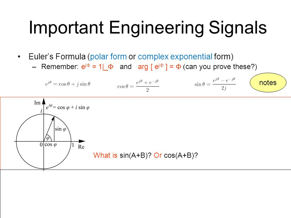 Important Engineering Signals Euler's Formula (polar form or complex exponential form) –Remember: e j  = 1|_  and arg [ e j  ] =  can you prove