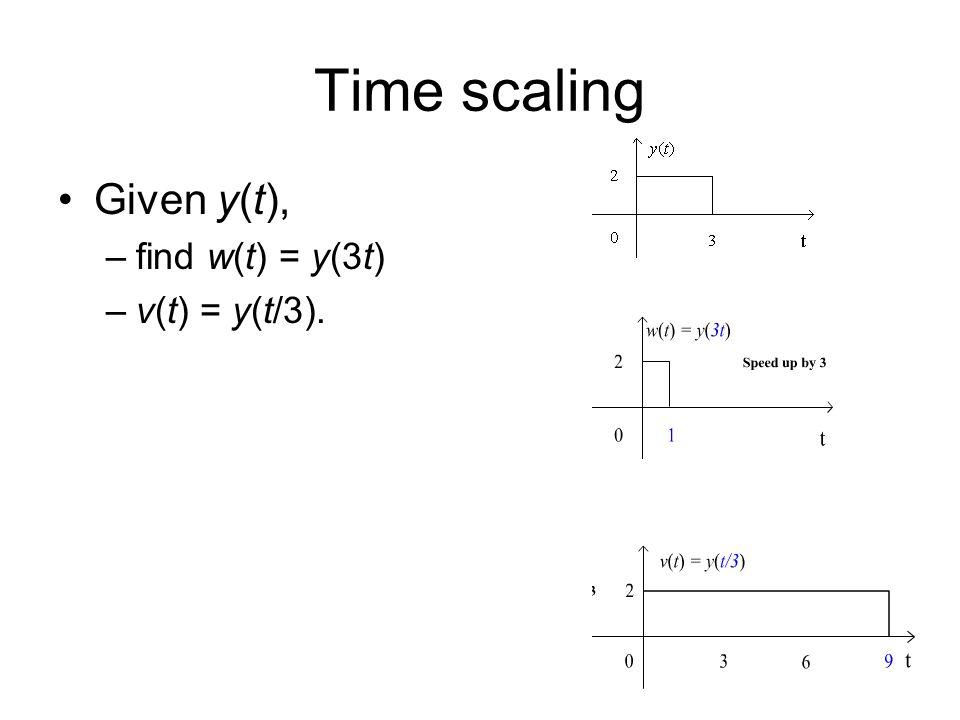 Time scaling Given y(t), –find w(t) = y(3t) –v(t) = y(t/3).