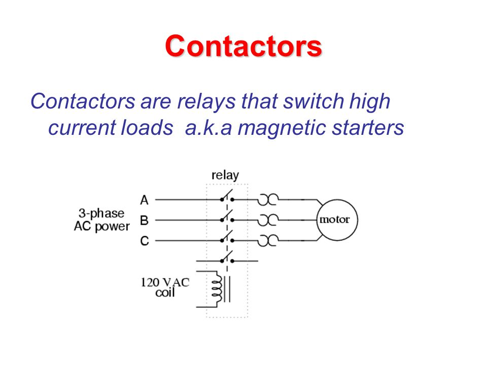 Contactors Contactors are relays that switch high current loads a.k.a magnetic starters