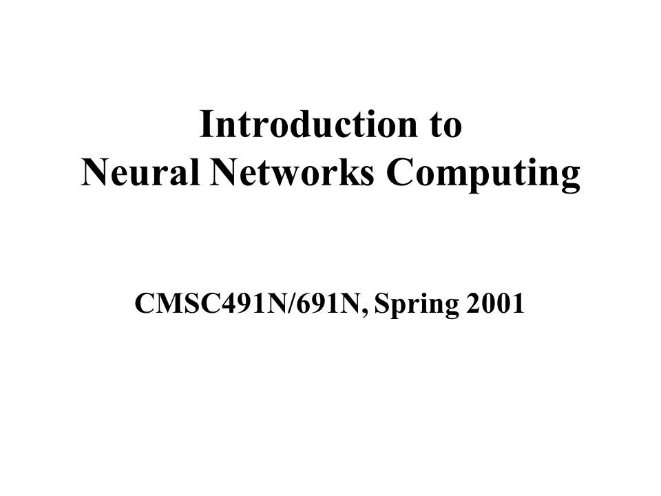 Introduction to Neural Networks Computing CMSC491N/691N, Spring 2001