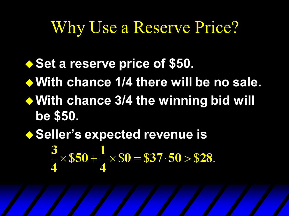 Why Use a Reserve Price. u Set a reserve price of $50.