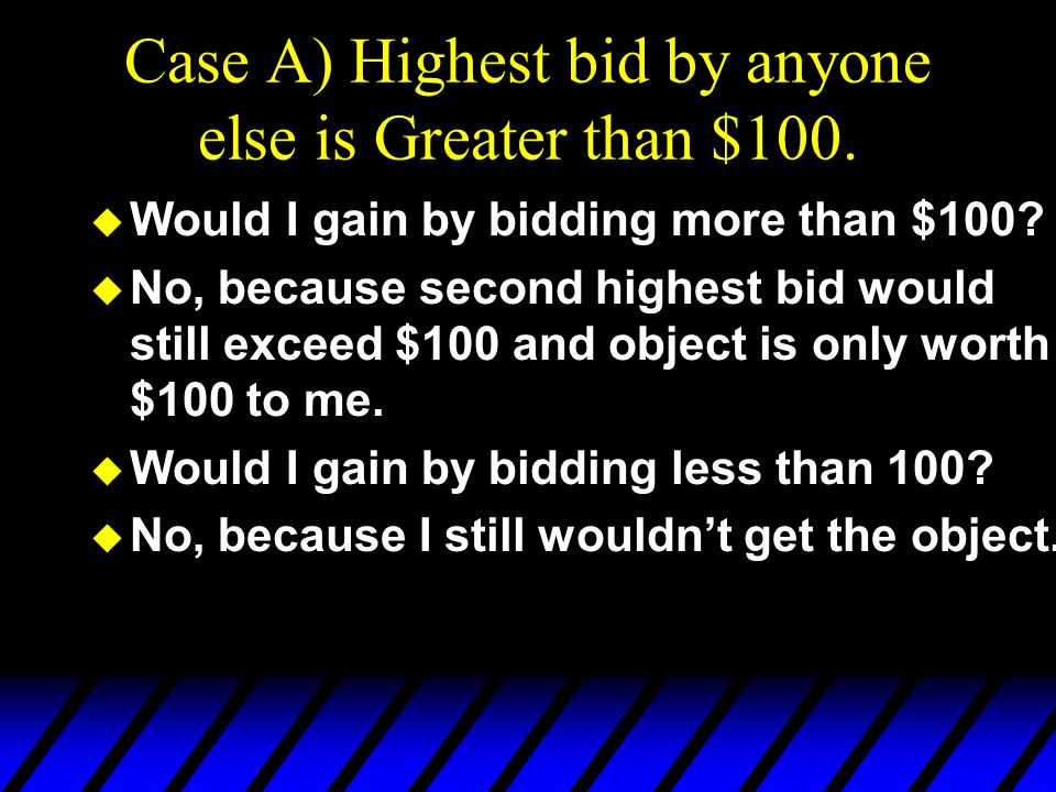 Case A) Highest bid by anyone else is Greater than $100.