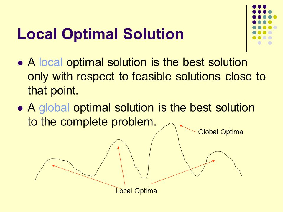 Local Optimal Solution A local optimal solution is the best solution only with respect to feasible solutions close to that point. A global optimal sol