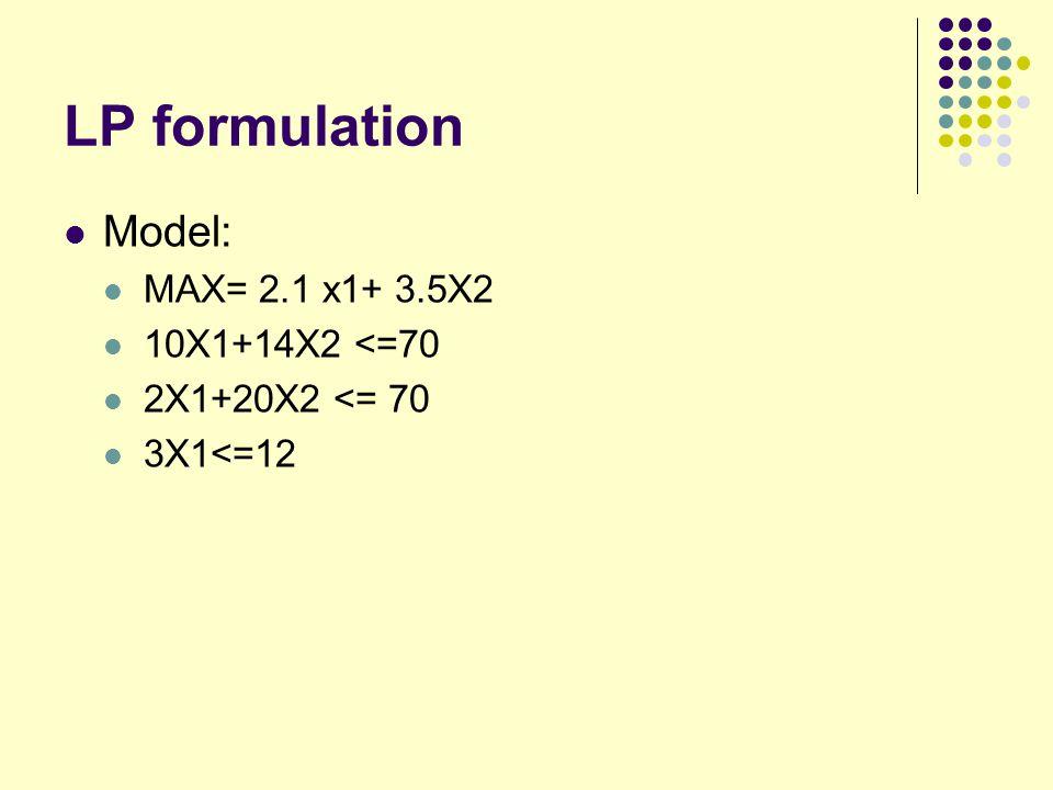 LP formulation Model: MAX= 2.1 x1+ 3.5X2 10X1+14X2 <=70 2X1+20X2 <= 70 3X1<=12