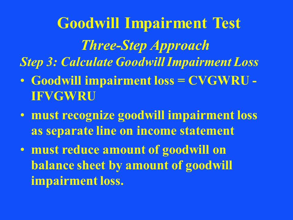 Goodwill Impairment Test Three-Step Approach Step 3: Calculate Goodwill Impairment Loss Goodwill impairment loss = CVGWRU - IFVGWRU must recognize goo