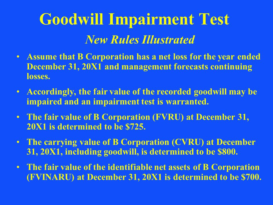 Goodwill Impairment Test New Rules Illustrated Assume that B Corporation has a net loss for the year ended December 31, 20X1 and management forecasts