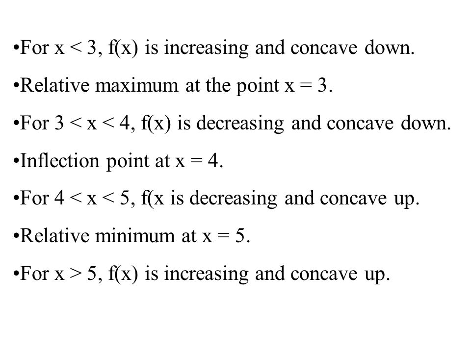 For x < 3, f(x) is increasing and concave down. Relative maximum at the point x = 3.