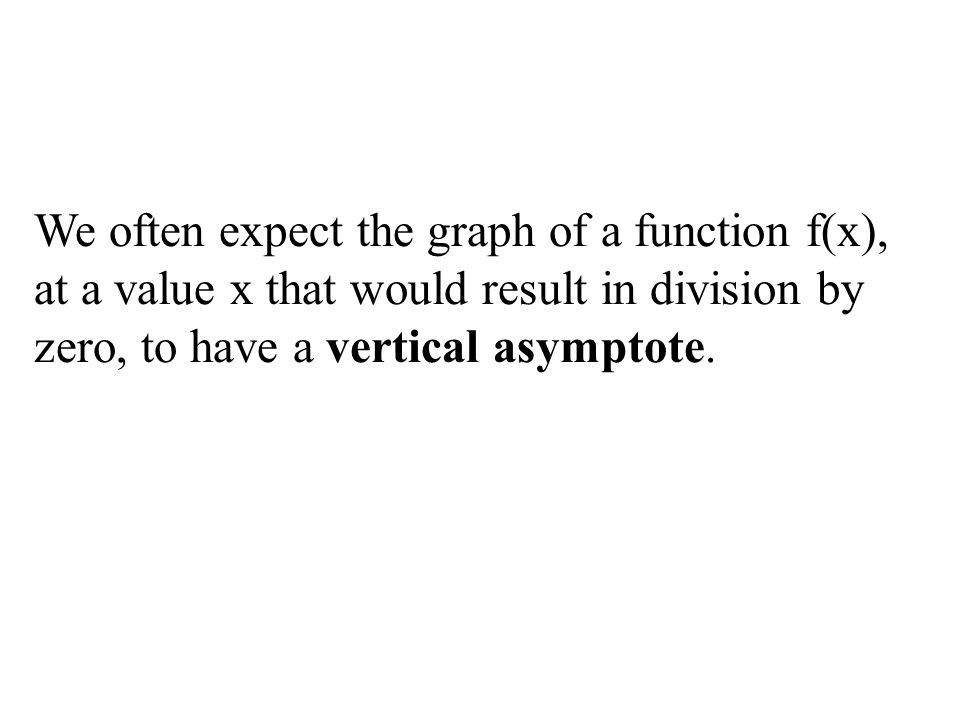 We often expect the graph of a function f(x), at a value x that would result in division by zero, to have a vertical asymptote.