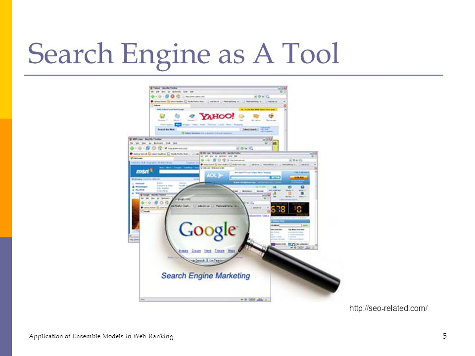 Search Engine as A Tool Application of Ensemble Models in Web Ranking 5 http://seo-related.com/