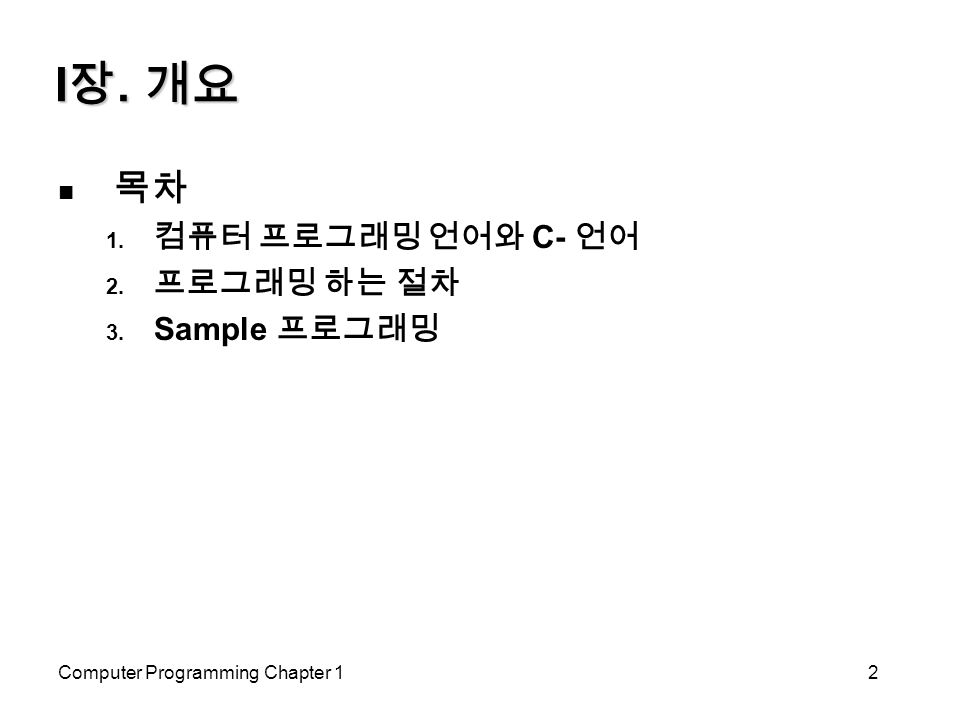 Computer Programming Chapter 12 I 장. 개요 목차  컴퓨터 프로그래밍 언어와 C- 언어  프로그래밍 하는 절차  Sample 프로그래밍