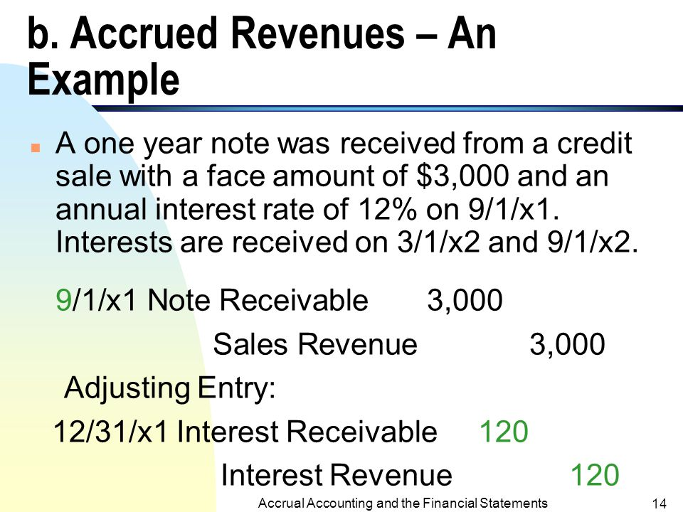 Accrual Accounting and the Financial Statements 13 a.