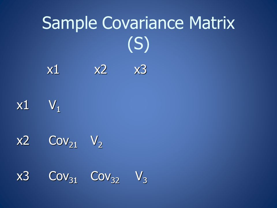 Sample Covariance Matrix (S) x1 x2 x3 x1 x2 x3 x1 V 1 x2 Cov 21 V 2 x3 Cov 31 Cov 32 V 3