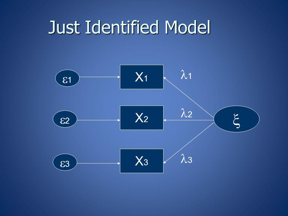 Just Identified Model  X1X1 X2X2 X3X3 11 22 33 1 2 3
