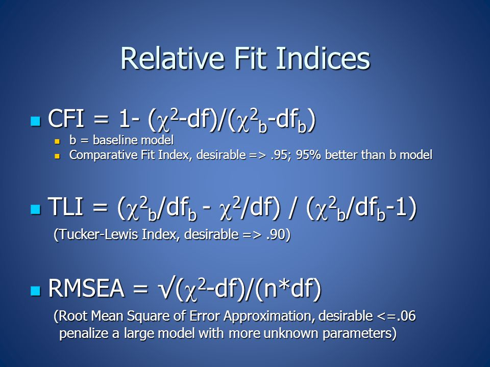 Relative Fit Indices CFI = 1- (  2 -df)/(  2 b -df b ) CFI = 1- (  2 -df)/(  2 b -df b ) b = baseline model b = baseline model Comparative Fit Index, desirable =>.95; 95% better than b model Comparative Fit Index, desirable =>.95; 95% better than b model TLI = (  2 b /df b -  2 /df) / (  2 b /df b -1) TLI = (  2 b /df b -  2 /df) / (  2 b /df b -1) (Tucker-Lewis Index, desirable =>.90) (Tucker-Lewis Index, desirable =>.90) RMSEA = √(  2 -df)/(n*df) RMSEA = √(  2 -df)/(n*df) (Root Mean Square of Error Approximation, desirable <=.06 (Root Mean Square of Error Approximation, desirable <=.06 penalize a large model with more unknown parameters) penalize a large model with more unknown parameters)