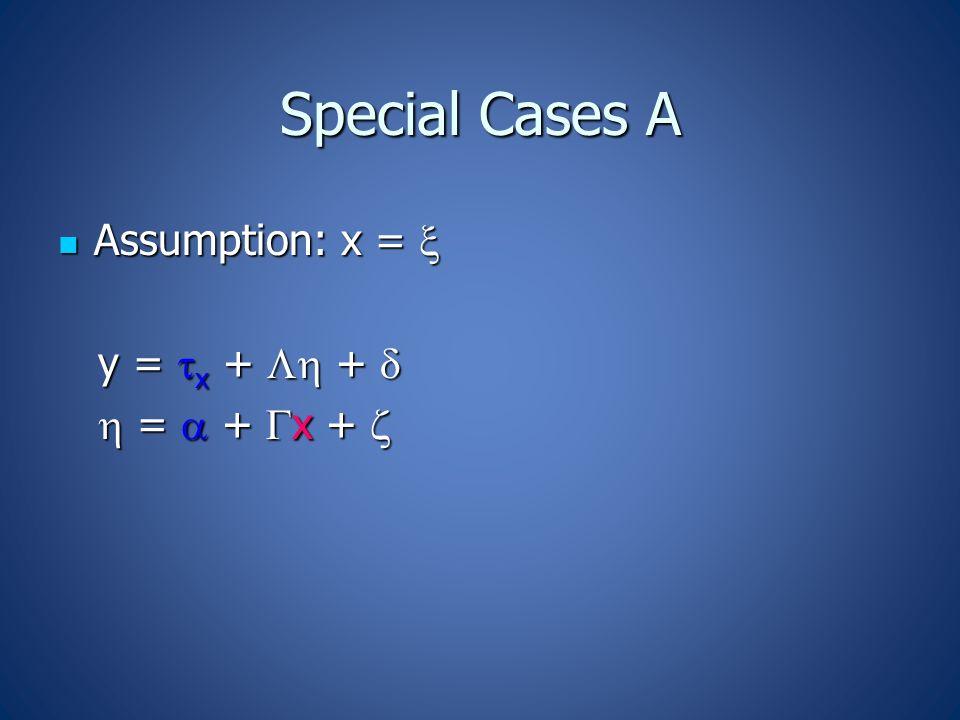 Special Cases A Assumption: x =  Assumption: x =  y =  x +  +  y =  x +  +   =  +  x +   =  +  x + 