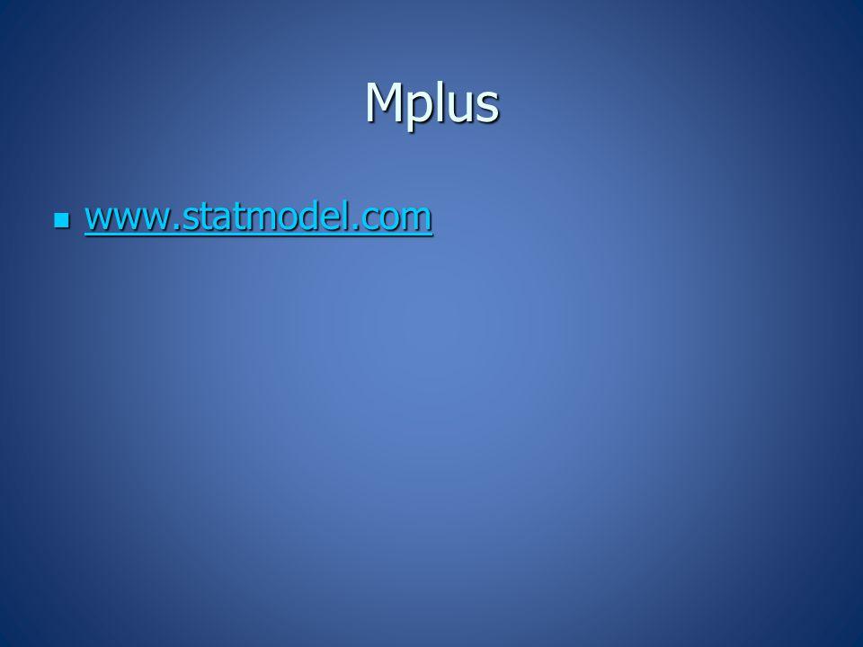 Mplus www.statmodel.com www.statmodel.com www.statmodel.com