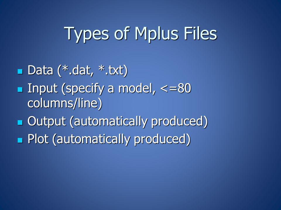 Types of Mplus Files Data (*.dat, *.txt) Data (*.dat, *.txt) Input (specify a model, <=80 columns/line) Input (specify a model, <=80 columns/line) Output (automatically produced) Output (automatically produced) Plot (automatically produced) Plot (automatically produced)