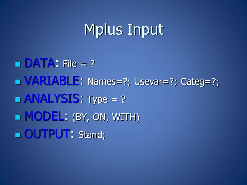 Mplus Input DATA: File = . DATA: File = .