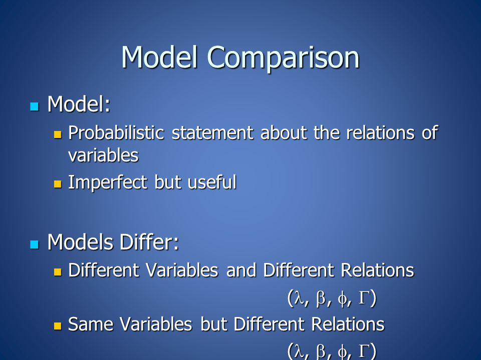 Model Comparison Model: Model: Probabilistic statement about the relations of variables Probabilistic statement about the relations of variables Imperfect but useful Imperfect but useful Models Differ: Models Differ: Different Variables and Different Relations Different Variables and Different Relations (, , ,  ) (, , ,  ) Same Variables but Different Relations Same Variables but Different Relations (, , ,  ) (, , ,  )