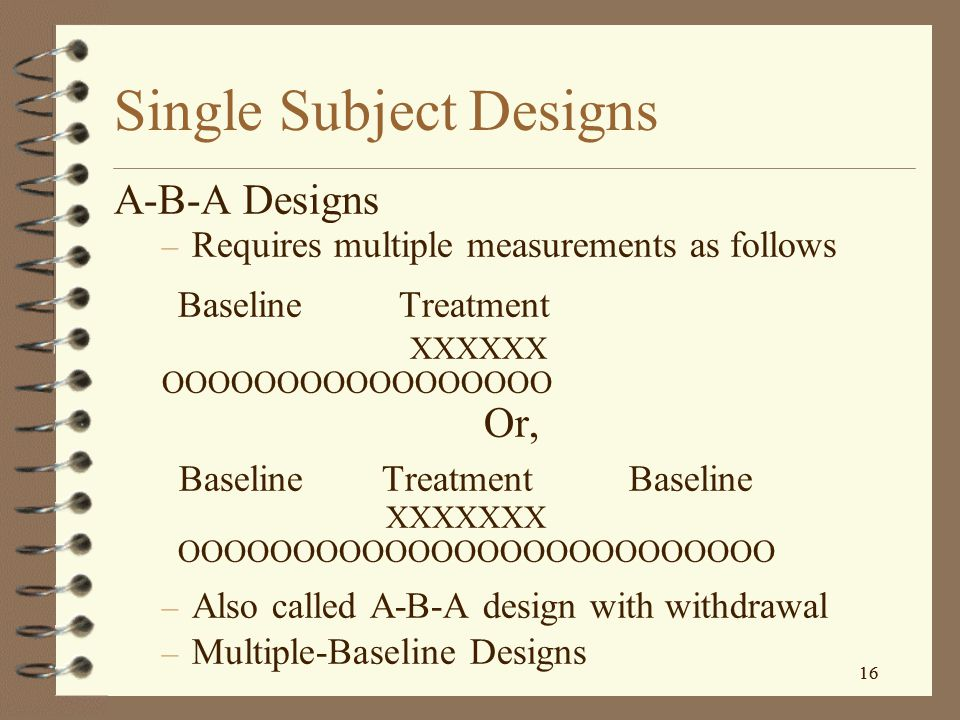 15 Single Subject Designs Studies individuals, or individual cases – Involves multiple measures of behavior – Looks for patterns of behavior – Require