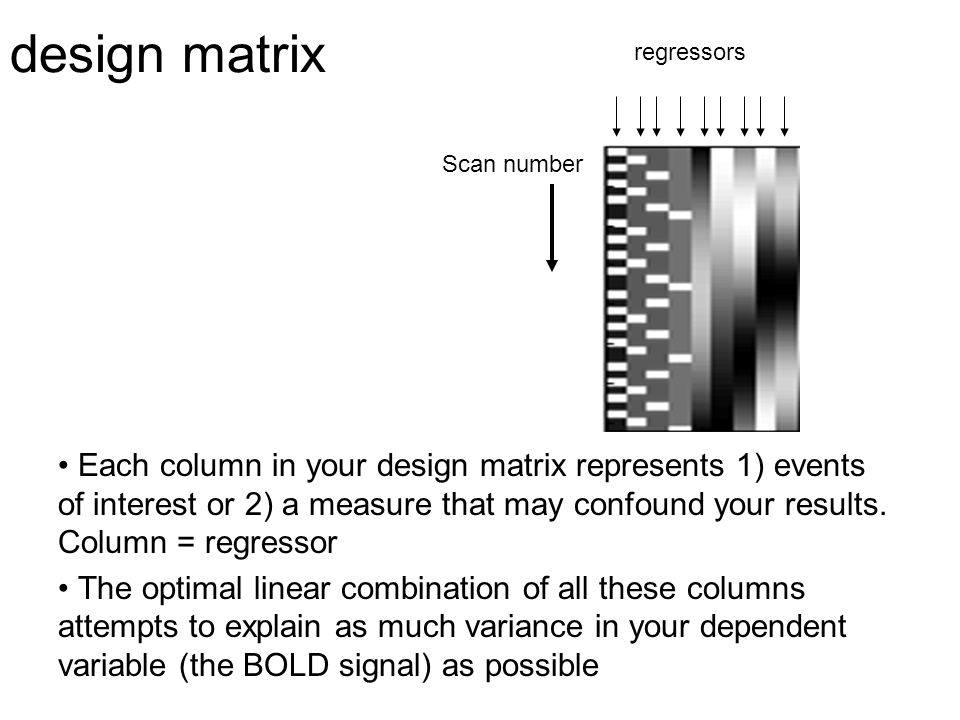 design matrix Each column in your design matrix represents 1) events of interest or 2) a measure that may confound your results. Column = regressor Th