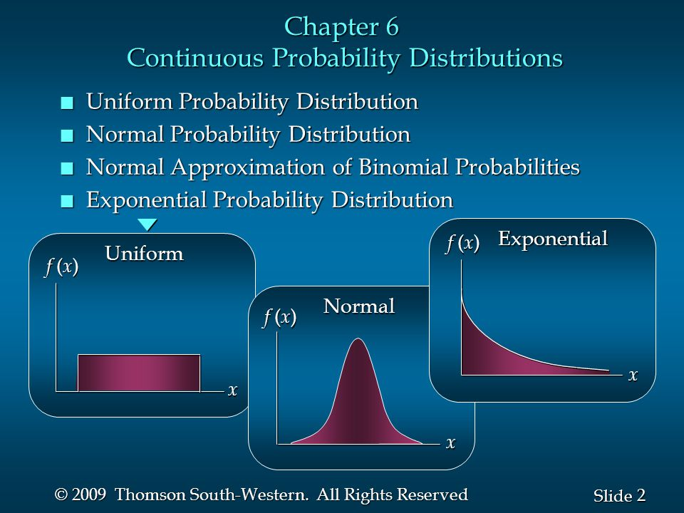 2 2 Slide © 2009 Thomson South-Western. All Rights Reserved Chapter 6 Continuous Probability Distributions n Uniform Probability Distribution n Normal