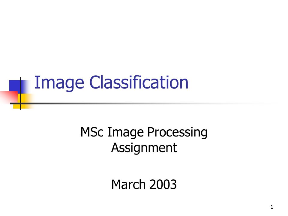 1 Image Classification MSc Image Processing Assignment March 2003