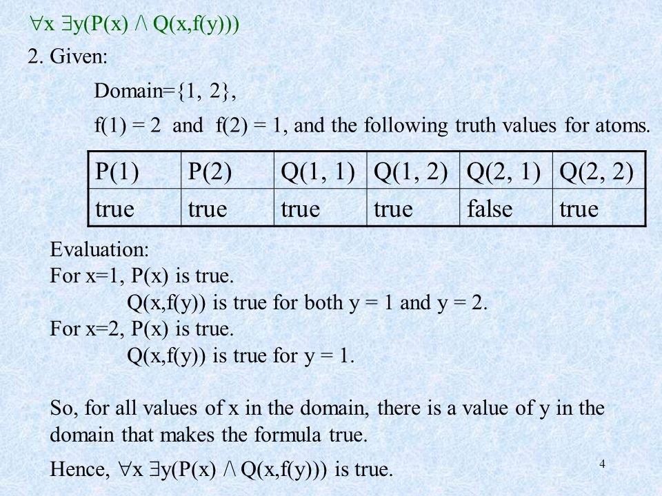 4 2. Given: Domain={1, 2}, f(1) = 2 and f(2) = 1, and the following truth values for atoms. P(1)P(2)Q(1, 1)Q(1, 2)Q(2, 1)Q(2, 2) true falsetrue Evalua