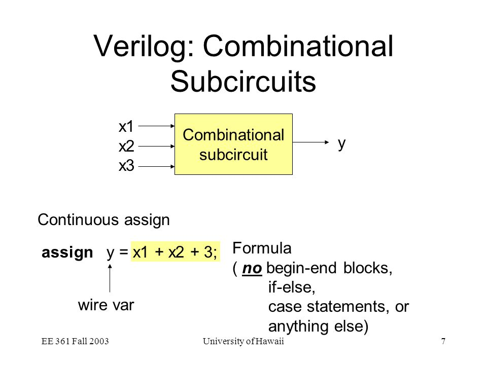EE 361 Fall 2003University of Hawaii8 Verilog: Combinational Subcircuits Procedural always always @(x1 or x2 or … or xk) A description of how to compute outputs from the inputs Example: always @(x1 or x2) y = x1 + x2 + 3; From this description you should be able to write a truth table for the circuit Be sure the table is complete, i.e., it covers all possible inputs OR For all input values, there should be an output value Sensitivity List Rule of thumb: List of all inputs