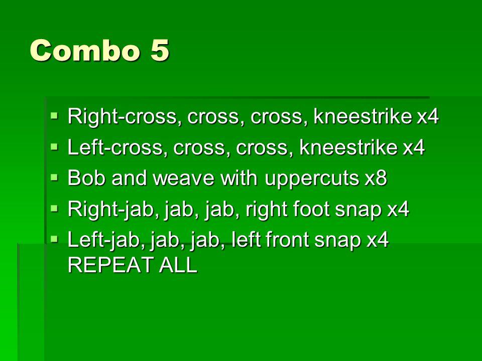 Combo 5  Right-cross, cross, cross, kneestrike x4  Left-cross, cross, cross, kneestrike x4  Bob and weave with uppercuts x8  Right-jab, jab, jab, right foot snap x4  Left-jab, jab, jab, left front snap x4 REPEAT ALL