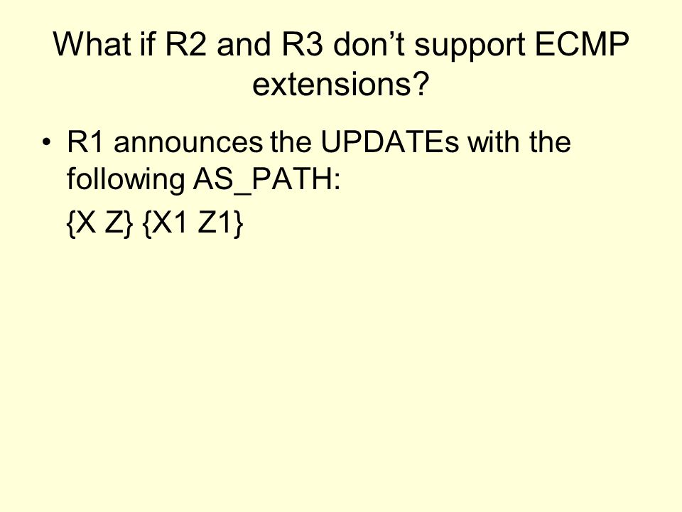 What if R2 and R3 don't support ECMP extensions.