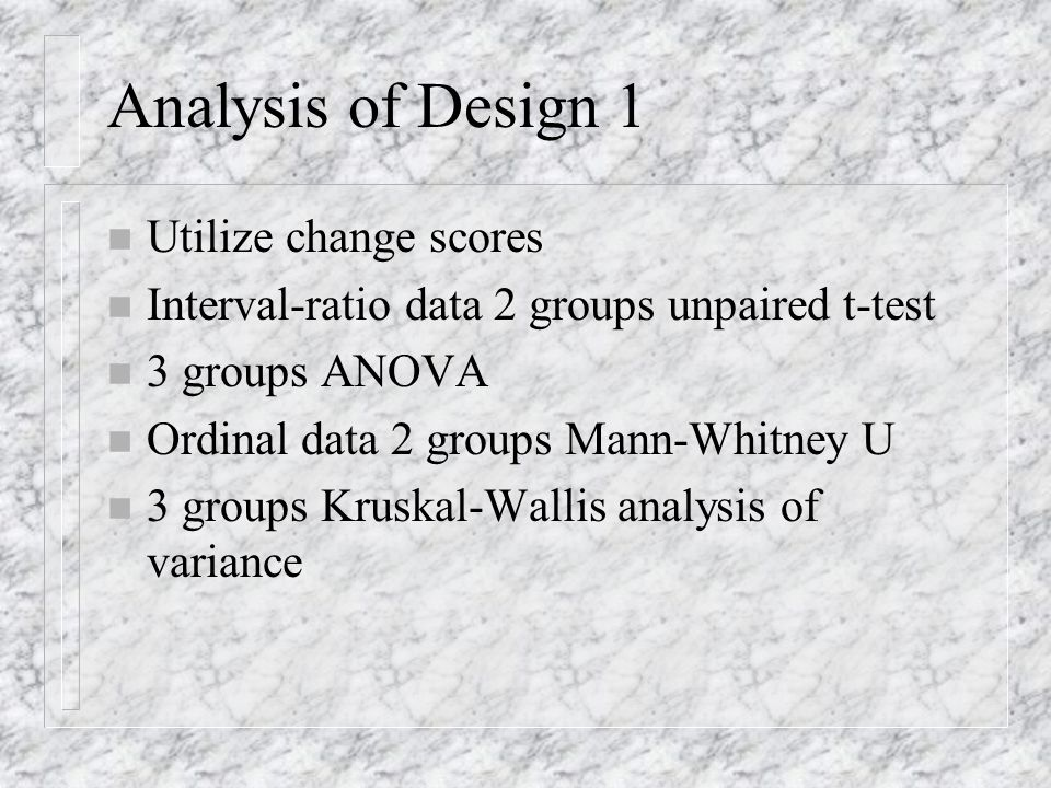 Design 1C n Multigroup pretest-posttest control group design n O 1 X 1 O 2 n R O 1 X 2 O 2 n O 1 O 2 n Threat to internal validity is attrition n Threat to external validity is the interaction of treatment and testing
