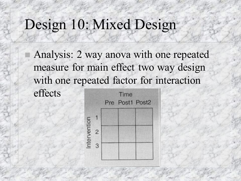 Design 9: Two-way Design with Two Repeated Measures n Analysis: Two way analysis of variance with two repeated measures to measure main and interaction effects