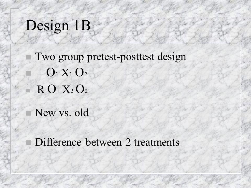 Design 1B n Two group pretest-posttest design n O 1 X 1 O 2 n R O 1 X 2 O 2 n New vs.