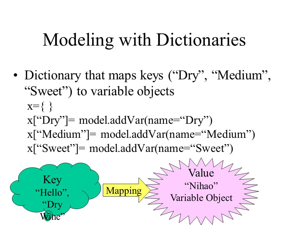 Modeling with Dictionaries Dictionary that maps keys ( Dry , Medium , Sweet ) to variable objects x={ } x[ Dry ]= model.addVar(name= Dry ) x[ Medium ]= model.addVar(name= Medium ) x[ Sweet ]= model.addVar(name= Sweet ) Key Hello , Dry Wine Value Nihao Variable Object Mapping