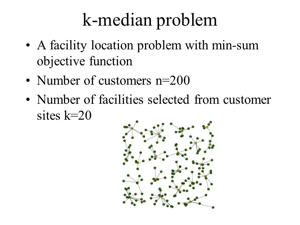k-median problem A facility location problem with min-sum objective function Number of customers n=200 Number of facilities selected from customer sites k=20