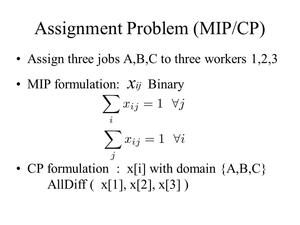 Assignment Problem (MIP/CP) Assign three jobs A,B,C to three workers 1,2,3 MIP formulation: x ij Binary CP formulation : x[i] with domain {A,B,C} AllDiff ( x[1], x[2], x[3] )