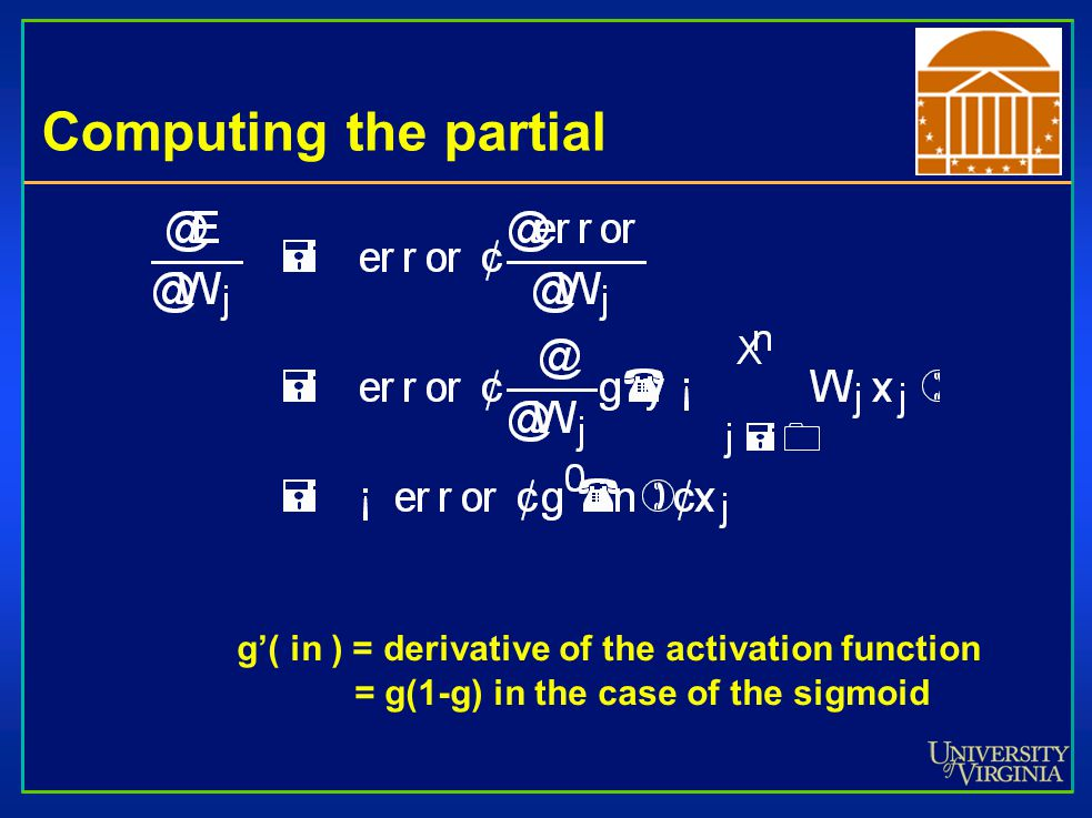 Computing the partial g'( in ) = derivative of the activation function = g(1-g) in the case of the sigmoid