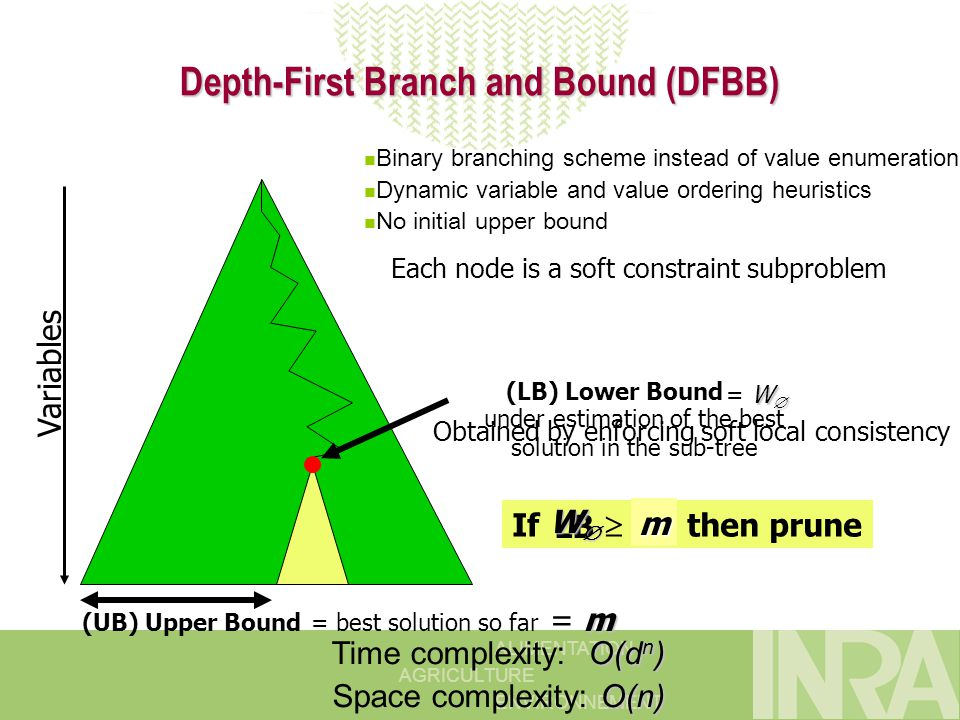 ALIMENTATION AGRICULTURE ENVIRONNEMENT Depth-First Branch and Bound (DFBB) (LB) Lower Bound (UB) Upper Bound If  UB then prune Variables under estimation of the best solution in the sub-tree = best solution so far Each node is a soft constraint subproblem LB WWWW W  = W  m = m O(d n ) Time complexity: O(d n ) O(n) Space complexity: O(n) m Obtained by enforcing soft local consistency Binary branching scheme instead of value enumeration Dynamic variable and value ordering heuristics No initial upper bound