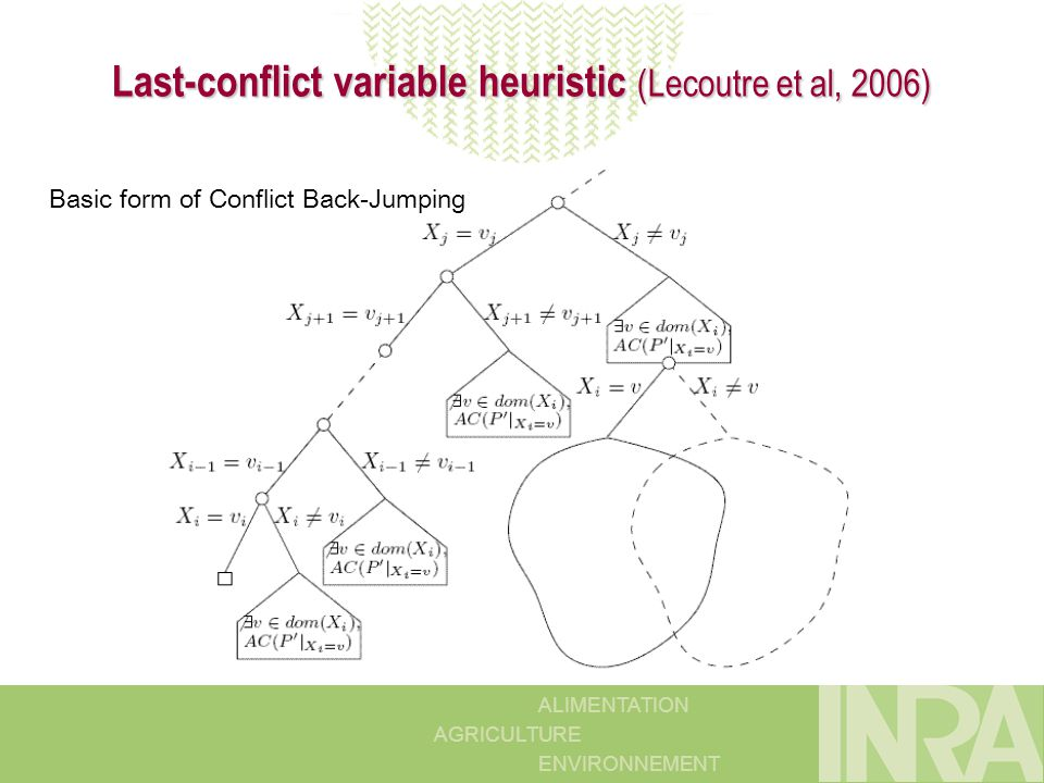 ALIMENTATION AGRICULTURE ENVIRONNEMENT Last-conflict variable heuristic (Lecoutre et al, 2006) Basic form of Conflict Back-Jumping