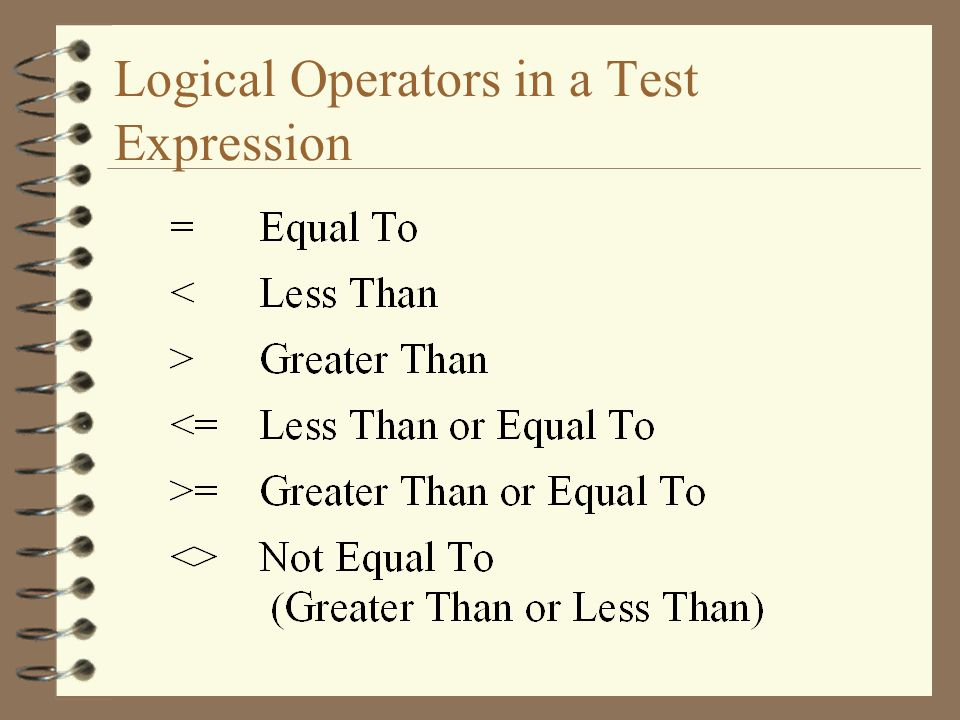 Logical Operators in a Test Expression