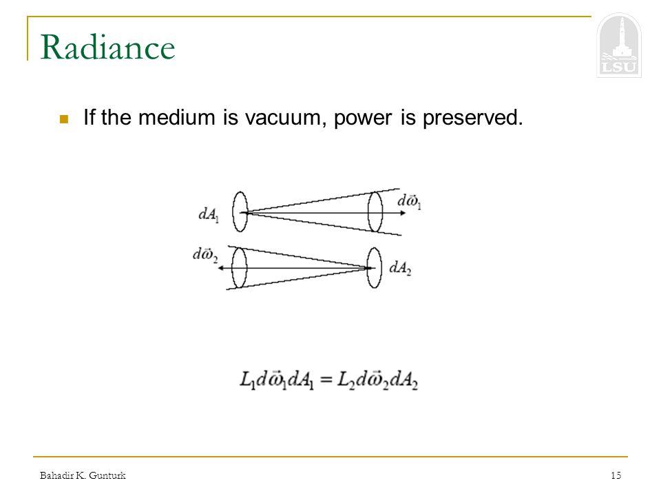 Bahadir K. Gunturk15 Radiance If the medium is vacuum, power is preserved.