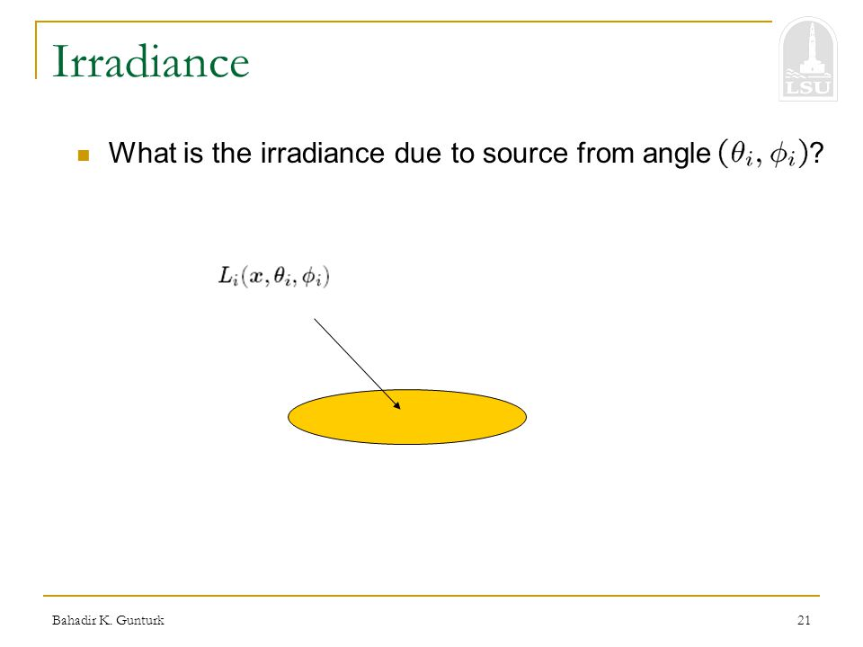 Bahadir K. Gunturk21 Irradiance What is the irradiance due to source from angle