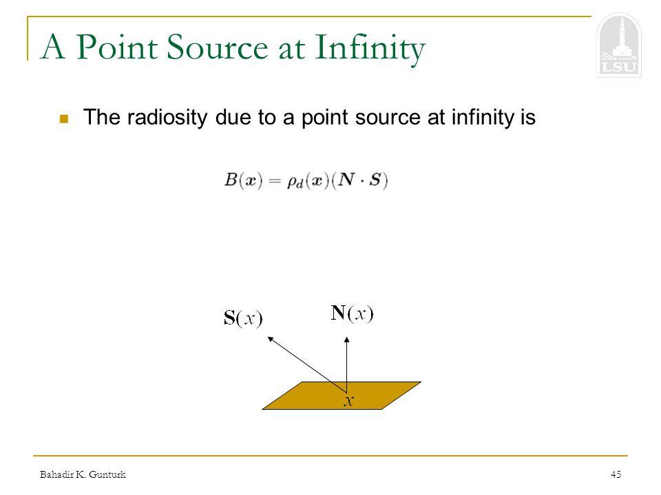 Bahadir K. Gunturk45 A Point Source at Infinity The radiosity due to a point source at infinity is