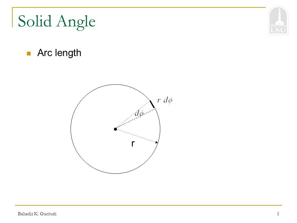 Bahadir K. Gunturk5 Solid Angle Arc length r