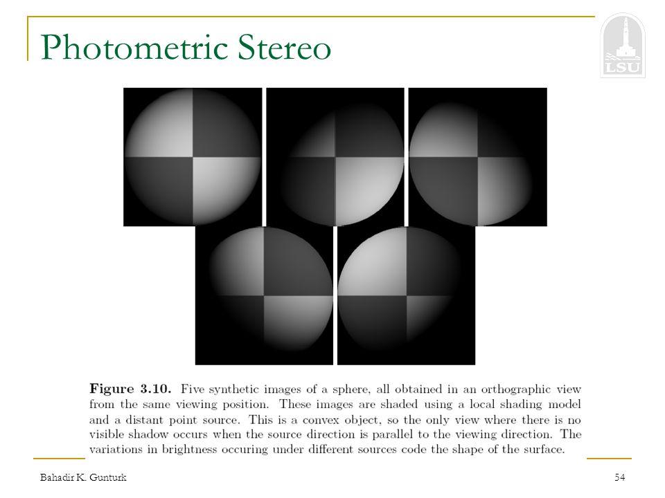 Bahadir K. Gunturk54 Photometric Stereo