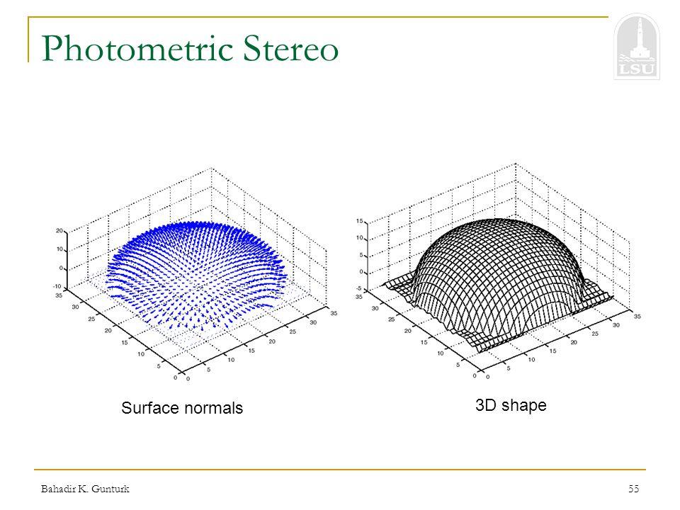 Bahadir K. Gunturk55 Photometric Stereo Surface normals 3D shape