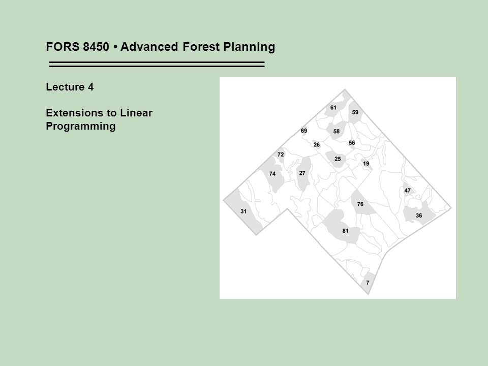 FORS 8450 Advanced Forest Planning Lecture 4 Extensions to Linear Programming